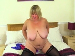 Ass 18 :Bbw Milf Melons Marie Rides A Dildo On The Bed